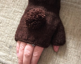 Brown handwarmers, brown fingerless gloves, with choice of pom poms or crochet flowers