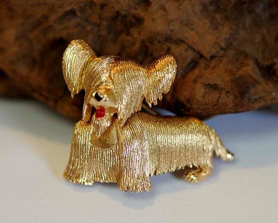 Vintage 1960's Goldtone Figural Dog Pin / Brooch.. SKYE TERRIER.. Signed Boucher