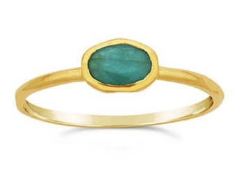 Emerald Ring, 14K gold, natural emerald, stackable ring, ethical ring, sustainable jewelry, handmade in Oregon, gifts for her, Green Jeweler