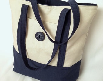 Anchor Tote Bag - Book Bag - Nautical Purse