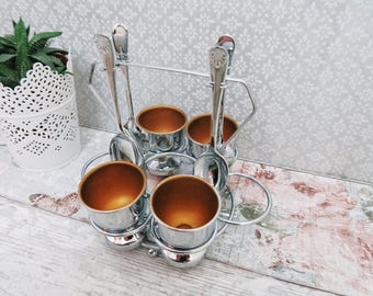 Vintage Egg Cruet - Egg Cups and Spoons Set of 4 - Chrome Plated Vintage Serveware - Art Deco Kitchenware