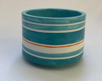 cute pottery Storage or Serving Bowl whimsical turquoise & orange stripes, salsa, salt cellar, jewelry dish, bathroom dish