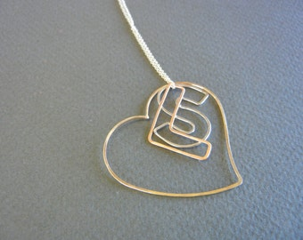 Heart necklace with two initials/Personalized jewelry