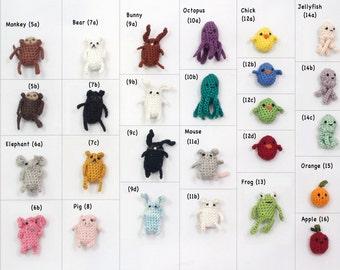 Create Your Own Miniature Crochet Amigurumi Critter Magnet Set of Six Miniature Crochet Magnets Miniature Crochet Animals Crochet Keychain