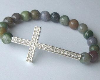 Silver tone Rhinestone Cross Bracelet in Fancy Jasper Gemstone