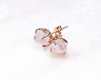 3 PAIRS @ 15% OFF: Rose Gold Rose Quartz Earrings. Bridesmaid Gift. Rose quartz wedding jewellery. Rose quartz bridal earrings. RRP 267 Aud.