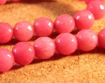 Pink jade faceted 10 X 8 mm - gem stone - JAD22