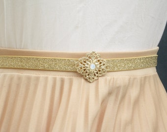 Gold belt, Belt for dress, Gold waist belt, Gold vintage belt, Gold buckle, Elastic waist belt, woman gold belt, dress belt accessory