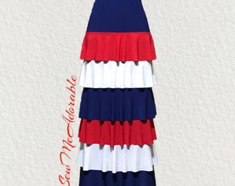 Made to order.  Specialty Red, White, & Blue Long Ruffle Maxi Skirt (3 or 6 tier).
