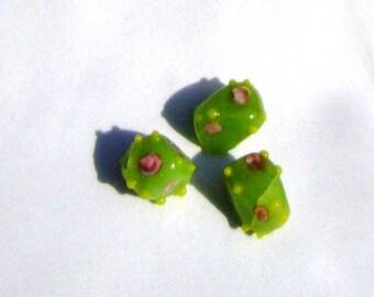 Green Lampwork Square Diamonds