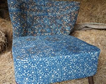 Blue shibori Chair vintage Bohemian Indian