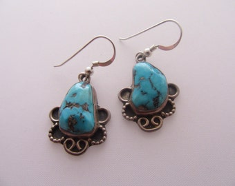 Sterling Silver, Turquoise Stone, Earrings