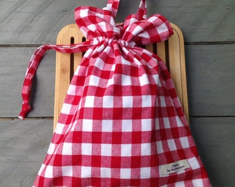 bread bag , red  fabric hand made south of france