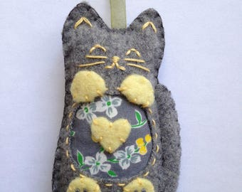 Gray Wool Plush Cat Ornament