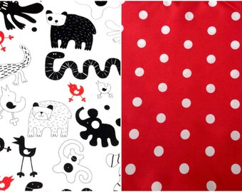 Shopping cart cover, High Chair Cover, handmade. Black and White jungle print & Red polka dots backing. IKEA. Grocery cart cover. Animals.