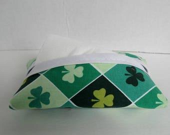 Shamrock Tissue Holder - Clover Tissue Cozy - Purse Size Tissue Case - Small Tissue Cover - St. Patricks Day - Fabric Tissue Cover