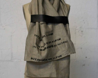 linen scarf , leather,  poetry scarves, fashion accessories, text