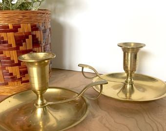 Brass Candlesticks with Handle - Taper Candle Holder - Wide Drip Tray - Cat's Eye Grip - Vintage - Chamberstick -