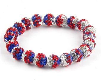 Patriotic Americana Shamballa Bracelet