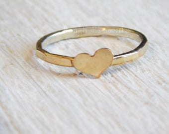 Gold Filled Heart and Fine Silver Stacking Rings, Heart Stacking Rings, Bridesmaid Gifts