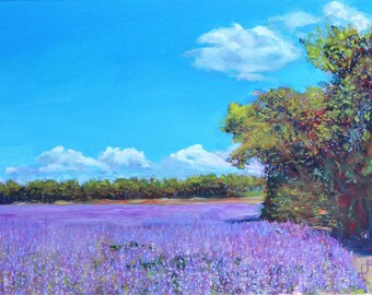 Original Oil Painting, Oil Painting Landscape, Home Decor, Nature, Lavender Field, Flowers