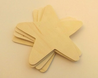 """12 ct Large 5.5"""" Unfinished Wood Stars for painting and staining wood crafts"""