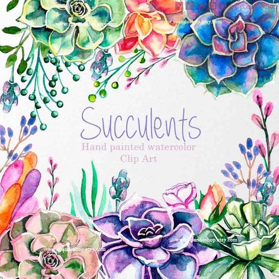 Suculentas Acuarela Png Suculentas Cactus Hechas A Mano