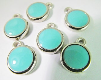 12 Vintage 12mm Turquoise Blue Pendants Charms Drops Pd466