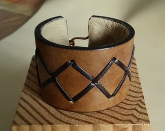 "SMALL BROWN STITCHED Leather Cuff with Cross Stitch Lacing. 5-3/4"" Wrist. Lined. Copper Hook Clasp. 1-3/4"" Wide Bracelet Wristband"