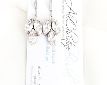 Swarovski Leaf Rhinestone Drop Bridal Earrings, wedding earrings, swarovski jewelry, art deco earrings for bride