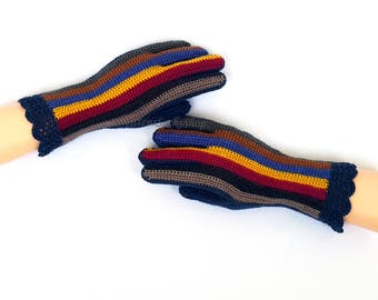 Yellow Blue Red Beige Gloves with Fingers Multicolor Womens Finger Gloves Girl's Fingerless Gloves Wrist Warmers Hand Warmers Arm Warmers