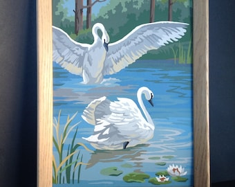 Vintage Paint by Number Swans Painting Framed PBN