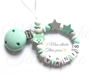 """personalized pacifier clip wood beads ~ Mint green Fox """"Michael"""""""