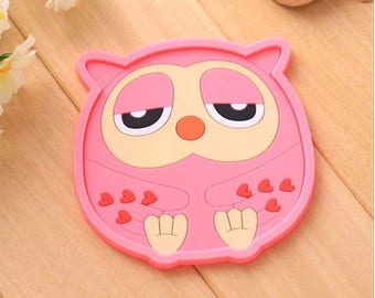 Owl Coaster/Drink Coaster/Party Supplies/Silicone Drink Coaster/Kawaii/Owl/Novelty/Gift/Silicone/Kitchen/Home/Coaster/