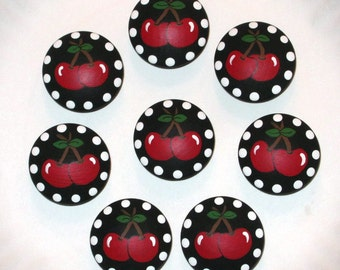 RED CHERRIES on BLACK Knobs - 1940's Retro Design - Hand Painted Wooden Knobs- Set of 8 - Great for Kitchen