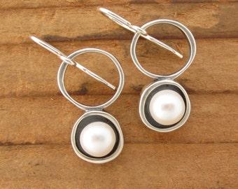 Modern Pearl Earrings in Sterling Silver - Sterling Silver Pearl Earrings with Black Patina