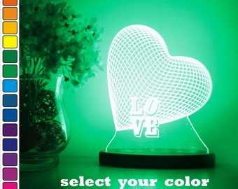 Wedding gift for couple/ Gift for him/ Unique lamp for home/ Heart gift/ 3D Led lamp/ Love gift/ Bedroom light/Night lamp for home/Led light