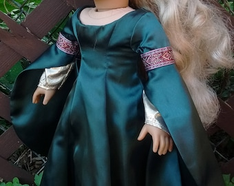Medieval doll dress Guinevere Gown for 18 inch dolls