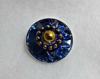 Czech glass button - dark blue, gold -  23 mm
