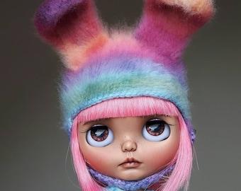 Rainbow furry Blythe bunny hat