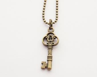 Skeleton Key Necklace, Gothic Key Necklace, Victorian key Necklace, Long Layering Necklace, Key Jewelry, Grad Gift ideas