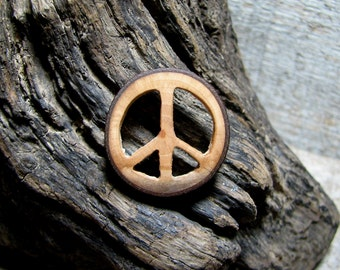 MINIATURE Peace Round Bradford Pear Wood Pin by Tanja Sova