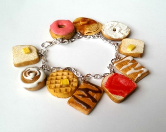 Breakfast Pastries Charm Bracelet, Food Jewelry, Waffle Bagel Bread Donut Cinnamon Roll Pancake Food Charms