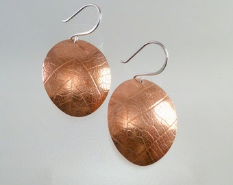 Leaf Imprint Oval Earrings, Leaf Disc Earrings, Copper leaves,Copper leaf Dangle Earrings