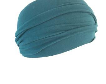 Teal Headband Bamboo Fabric HippyBB HeadBBand Teal Blue Color