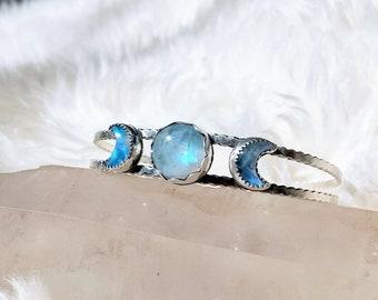 Moon Phase Moonstone Cuff Bracelet