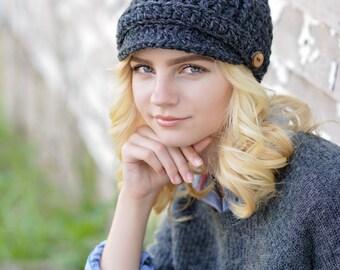 Crochet Newsboy Hat for Women / Women's Winter Hat / Brimmed Beanie Hat / Fall Fashion / Women's Hat / Winter Accessories / Newsboy Cap