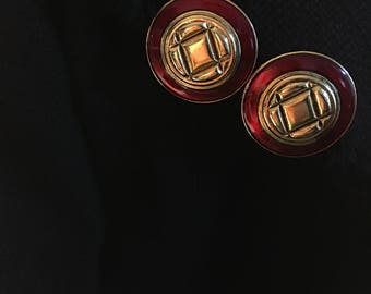 Vintage round Gold-tone and red-tone Clip-on Earrings