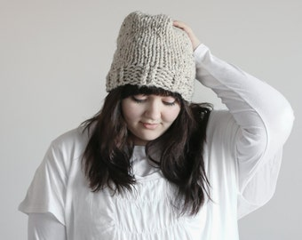 Slouchy Knit Beanie Chunky Hat With Ribbed Cuff | THE GETTLINGE in Oatmeal
