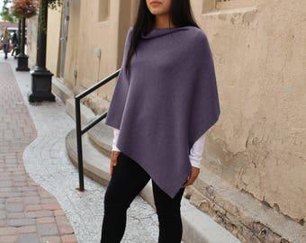 Fine Double Knit Poncho | 100% Merino Wool | Rib Knit | Luxury Fine Knit | Purple | Emji - FP003PURPLE